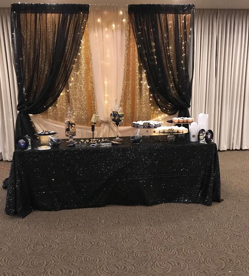 Mantel negro de 90x13 pulgadas con purpurina, mantel de mesa con lentejuelas bordadas redondas y rectangulares para boda, fiesta, Decoration-RT1002 de Navidad