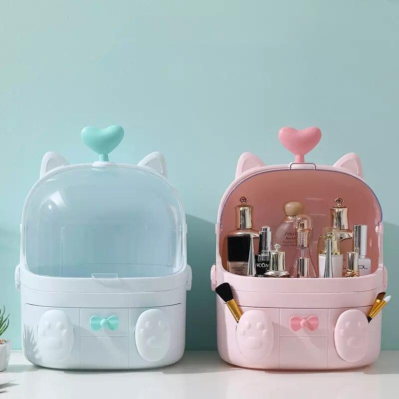 Cat Shape Transparent Makeup Organizer Cute Cosmetic Storage Box Student Desktop Organizer Girl Creative Beauty Box Droshipping