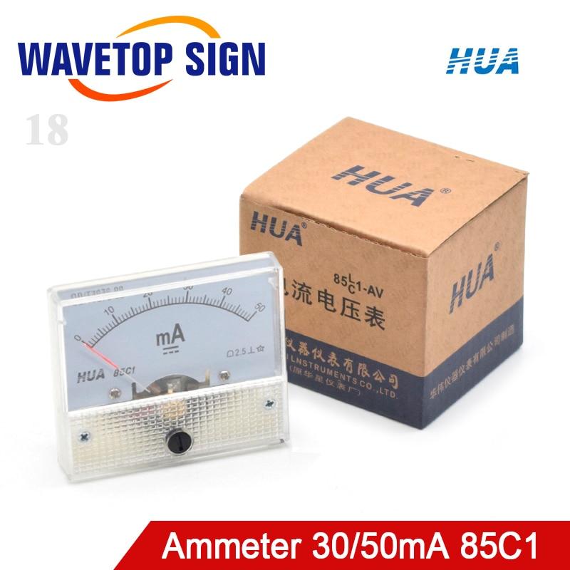 WaveTopSign HUA amperímetro 30mA 50mA 85C1 DC 0-50mA Panel de Medidor de amperios corriente para máquina cortadora de grabado láser CO2