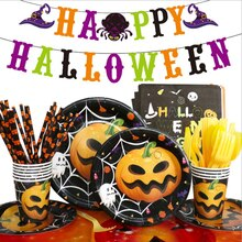 Halloween Party Disposable Tableware Pumpkin Printing Paper Plate Cup Holiday Supplies Decoration fo
