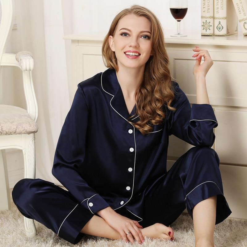 Maison Gabrielle Spring Summer 22 Momme 100% Mulberry Silk Pajamas Set Classic 2-Piece Long-Sleeve Loungewear For Women