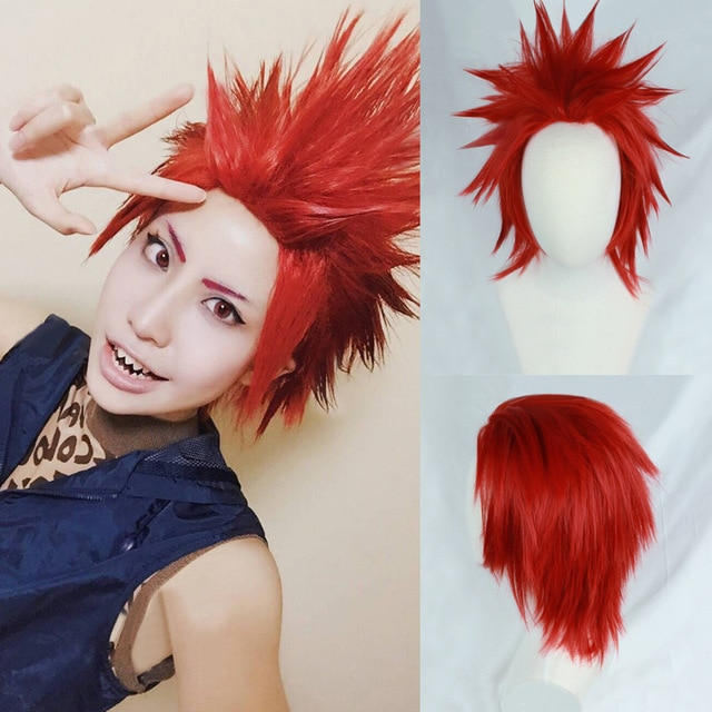 My Boku no Hero Academia Eijirou Kirishima Eijiro Wigs Short Red Heat Resistant Synthetic Hair Cosplay Costume Wig + Wig Cap