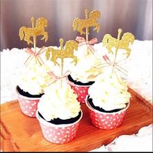 5 pièces cheval décoration de gâteaux avec nœud papillon paillettes or carrousel fête de mariage Fondant gâteau décoration outils bricolage à la main gâteau décor