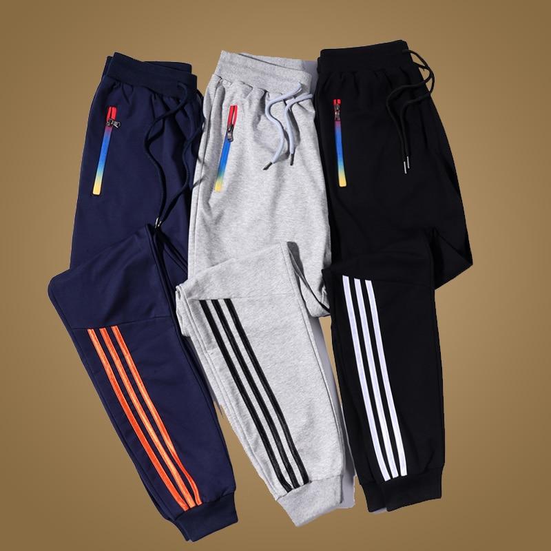Men Joggers Pants Brand Casual Striped Male Trousers Black Blue Grey Cotton Sweatpants Mens Fitness Workout Pantalon Homme 5XL