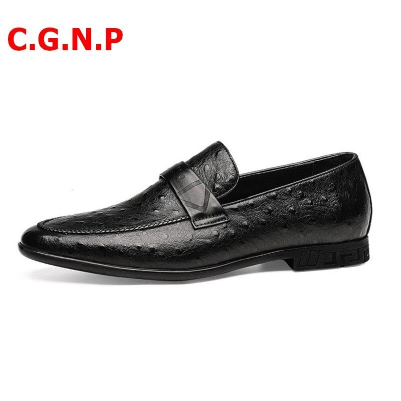 Купить с кэшбэком C.G.N.P Ostrich Skin Pattern Genuine Leather Loafers Soft Leather Loafer Shoes Men Dress Shoes Handmade Men's Flats Shoes