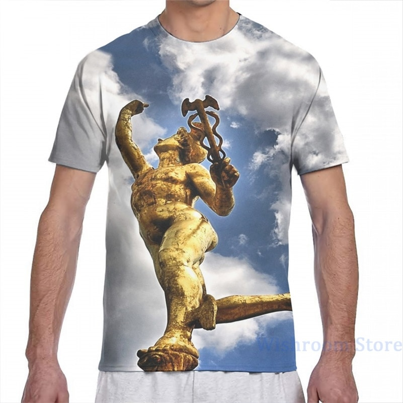 Mercury (mitologia) camiseta masculina feminina por todo o lado impressão moda menina t camisa menino topos camisetas de manga curta