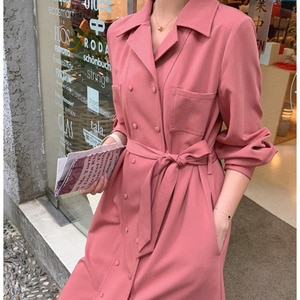 High quality dress shirt spring for women one-piece suit cotton linen ladies trench coat long sleeve elegant casual white pink