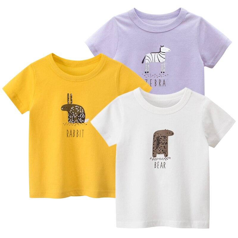 Детские футболки для девочек, детские футболки с коротким рукавом и принтом, хлопковые летние футболки с мультяшным рисунком, одежда, топы, ...