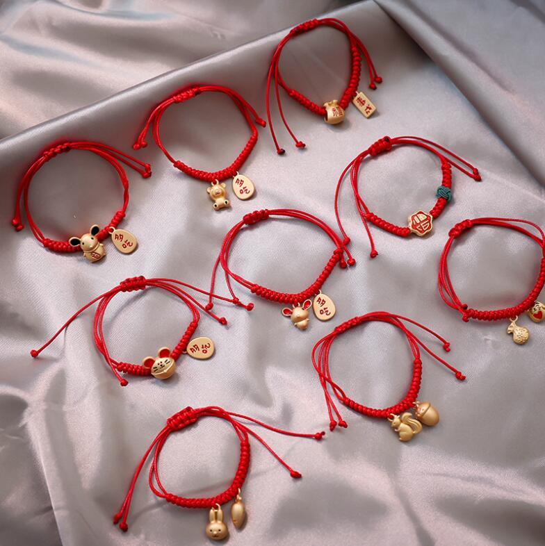 Pulseira de relógio feminina 2020, nova pulseira estilosa com pingente de mouse vermelho, corda ajustável, bracelete de sorte para mulheres e meninas, presentes de aniversário