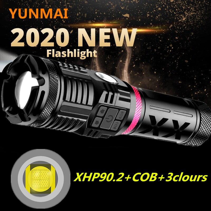 Super Helle XHP90 Leistungsstarke Taschenlampe Wiederaufladbare COB ROT BLAU GRÜN LED Jagd Hand Lampe USB Taschenlampe 26650 Zoom Flash Licht
