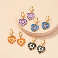 ins heart shaped earrings purple red blue black green color layered multicolor earrings women girl fashion jewelry girls gifts