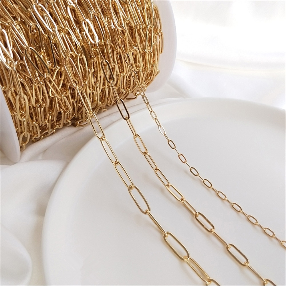 14K Gold Filled Square chain Oval O chain DIY bracelet necklace material jewelry loose chain accessories 50cm diy handmade jewelry accessories authentic gold electroplated pearl crystal chain earrings necklace bracelet material