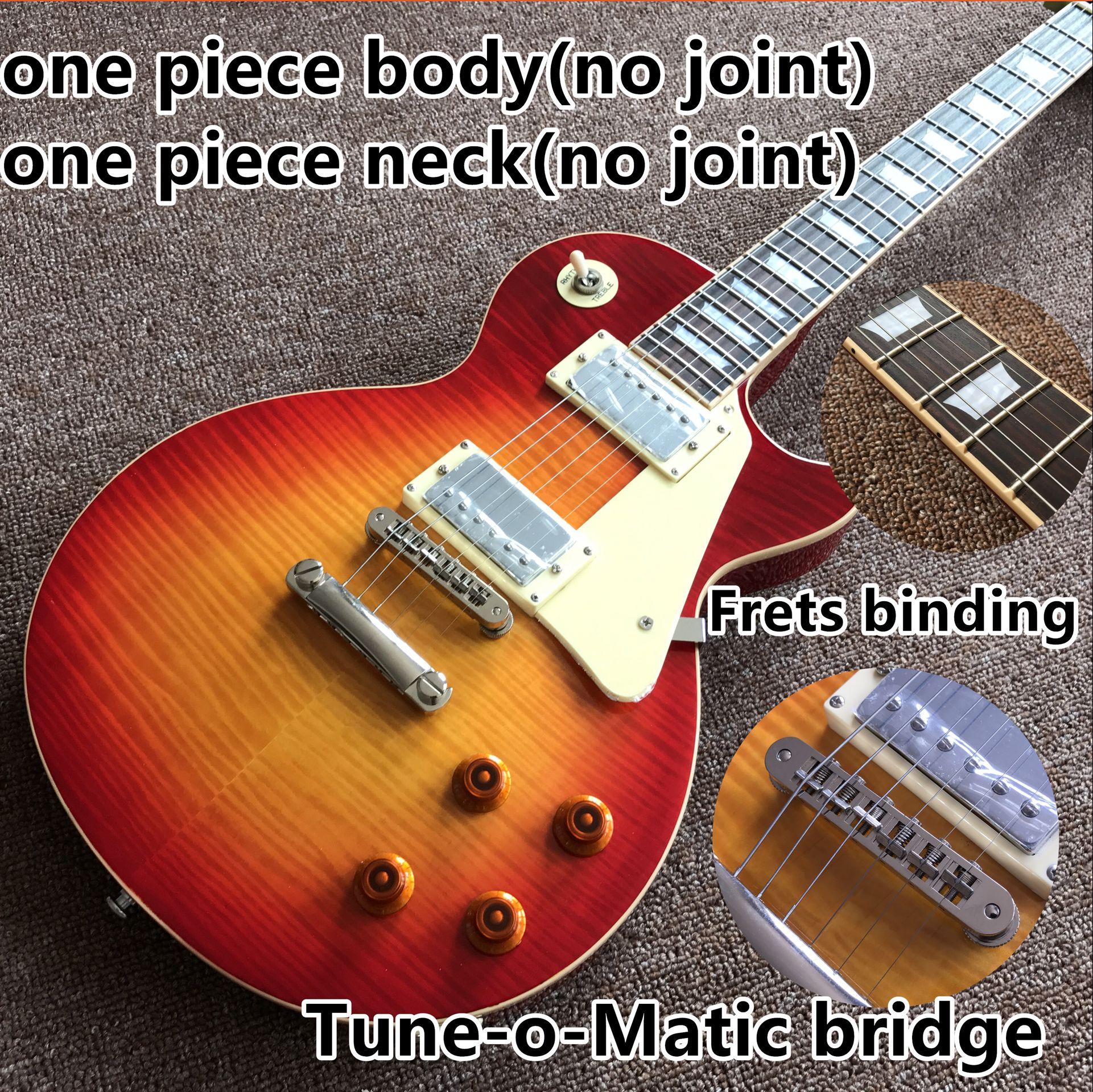 Tiger Flame Standard gitaar.one piece neck and one piece body Electric guitar..Tune-o-Matic bridge.Sunburst color guitarra
