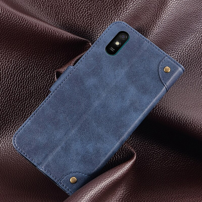 Funda para Xiaomi Redmi 9A, Funda de cuero con tapa trasera a prueba de golpes para Xiaomi Redmi 9A