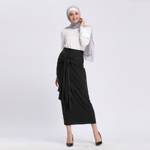 Muslim High Waist Long Skirt Women Lace-up Skinny Slim Pencil Skirts Islam Fashion Ankle-length Maxi Skirts Islamic Clothing