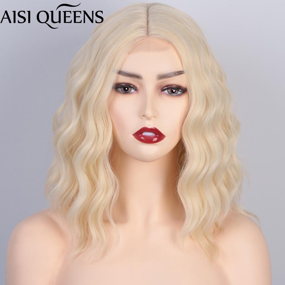AISI كوينز قصيرة شقراء بوب الباروكات الطبيعية موجة شعر مستعار اصطناعي للنساء الجزء الأوسط شعري أحمر بني داكن الشعر اليومي