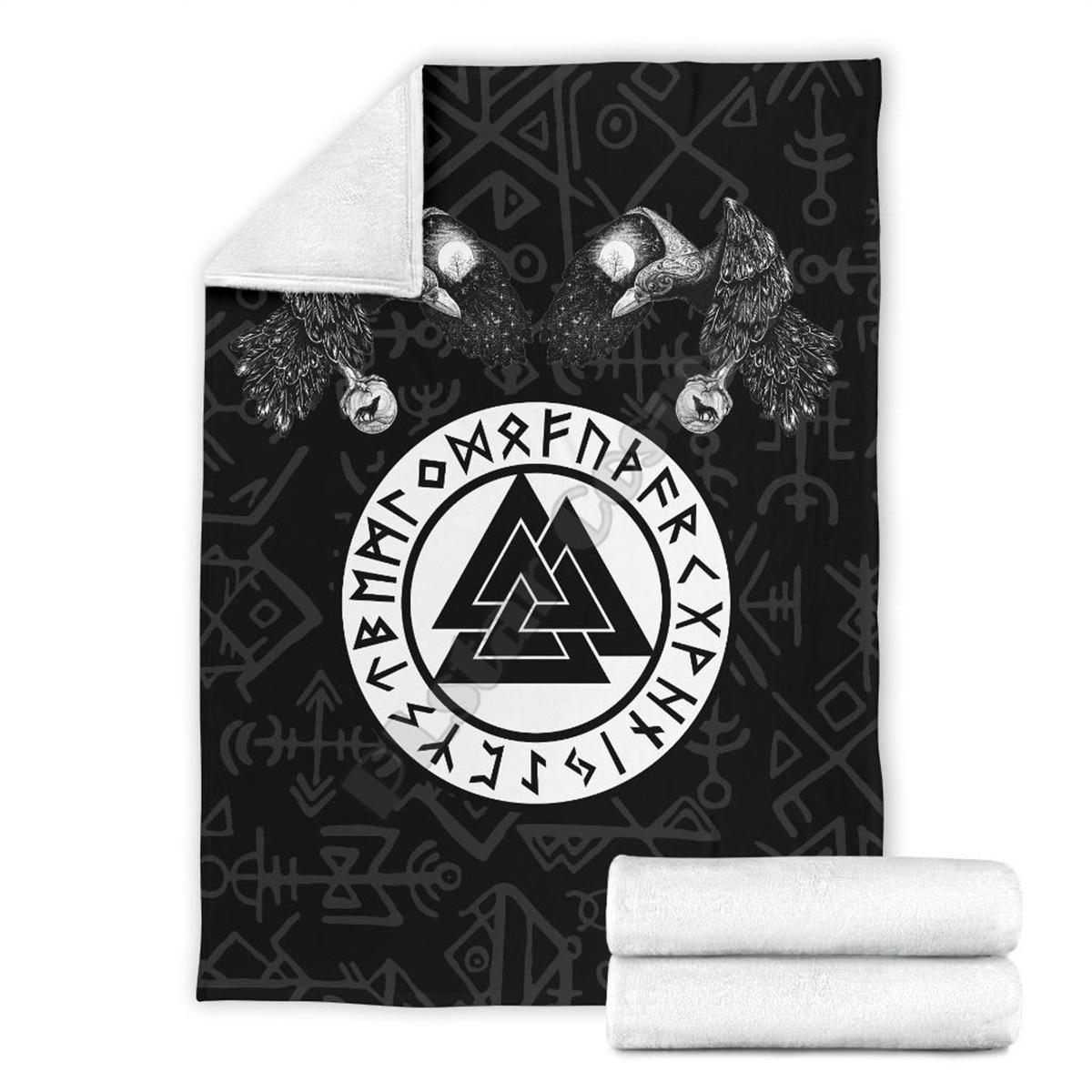 Viking tatuagem fenrir skoll e hati valknut raven 3d impresso cobertor sherpa na cama têxteis para casa dreamlike casa acessórios