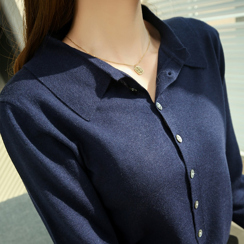 100% Wool Knitted Cardigans for Woman Jackets 2021 New Fashion Shirt Collar Sweaters Ladies Soft Woolen Cardigan enlarge