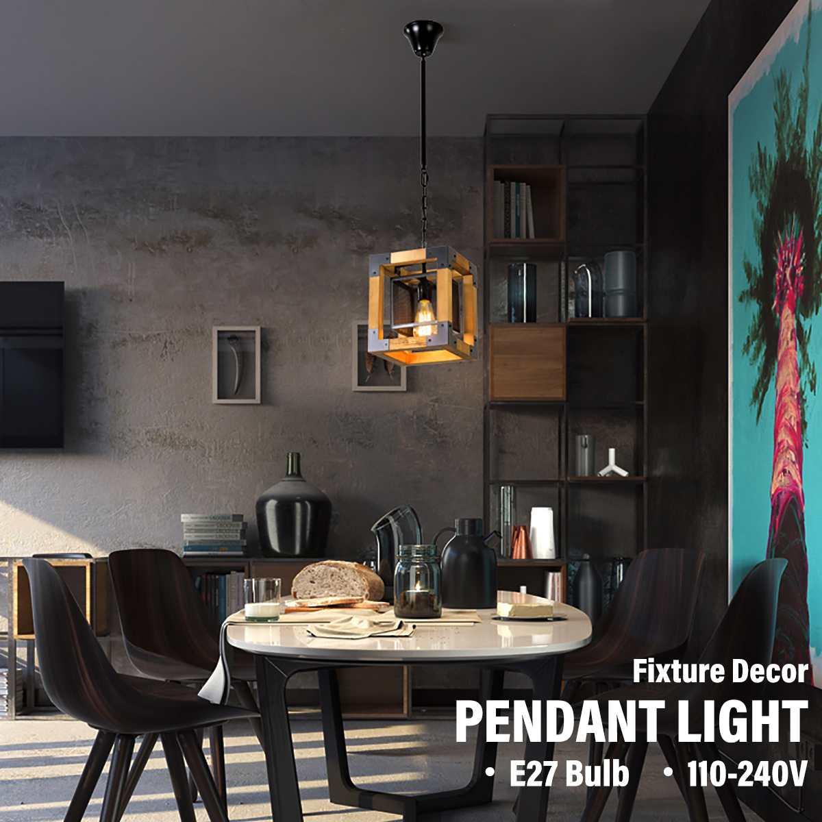 الأمريكية لوفت الصناعية نمط خشب متين قلادة ضوء الحديد المطاوع E27 مصباح لغرفة الطعام بار مقهى غرفة المعيشة الديكور