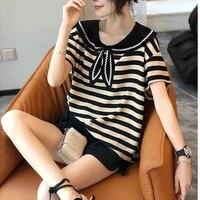 navy collar striped t shirt women short sleeved loose korean shirt tops women summer new chiffon shirts womens tops blouse
