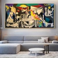 famous picasso guernica art abstract canvas painting poster and prints wall art pictures for living room home cuadros decoration