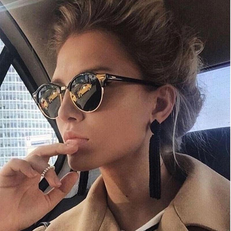 Semi-rimless Sunglasses Women Men Vintage Eyeglasses Female Luxury Designer Glasses Trendy Sun Glass