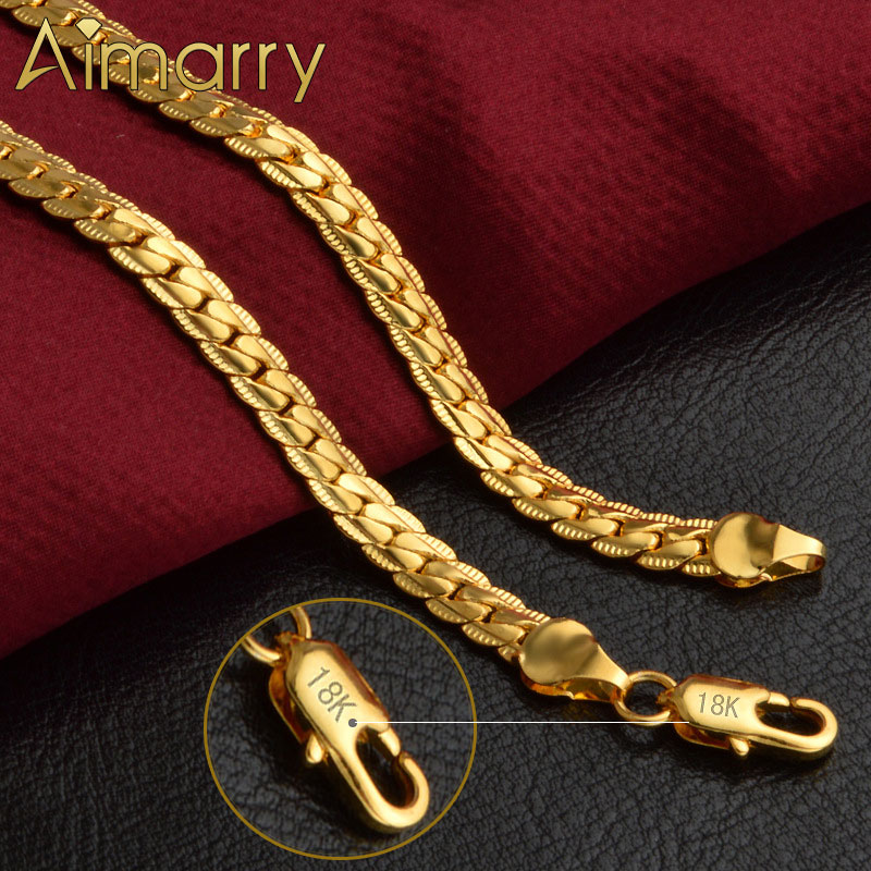 Aimarry 925 Sterling Silver 18K Gold 5MM Full Sideways Necklace For Women Men Party Gifts Fashion En