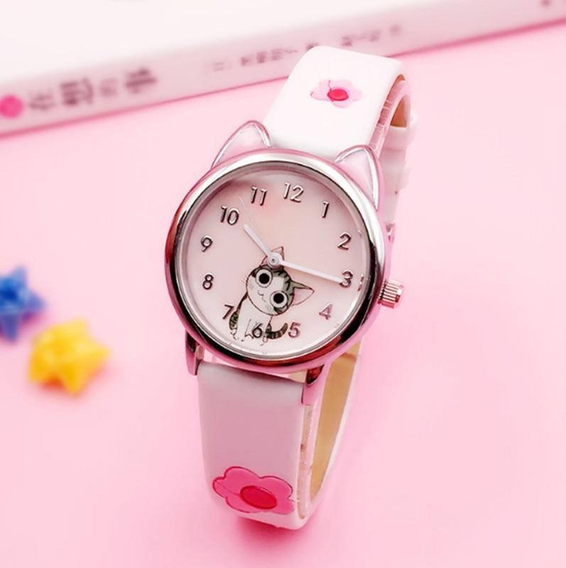 Reloj para niños bonito con diseño de gato y queso, reloj analógico de cuarzo para niños, niñas y estudiantes, reloj de regalo