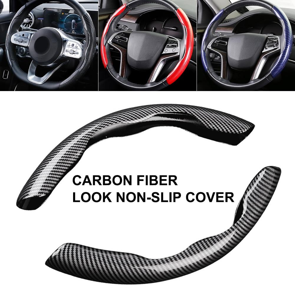 Новинка, чехол для рулевого колеса диаметром 38 см и 15 дюймов, из углеродного черного волокна и силикона, противоскользящие аксессуары
