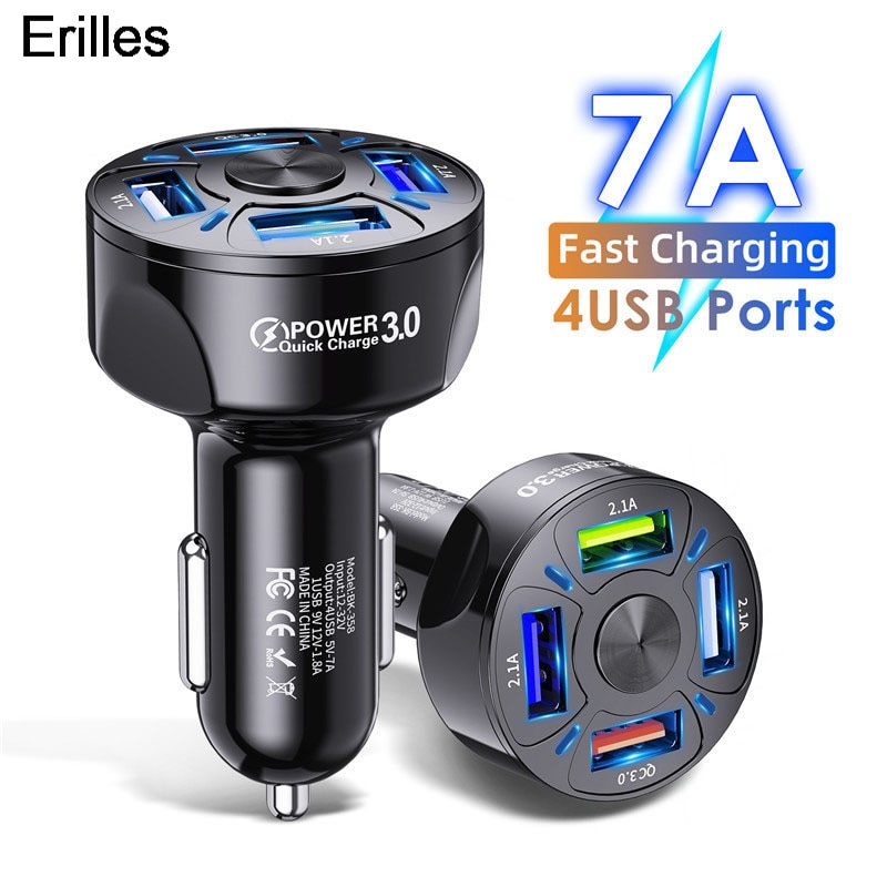 4 USB Car Charger QC 3.0 Car Fast Charger for Xiaomi Redmi mi 9 Samsung S10 S9 For iPhone xr 11 Pro