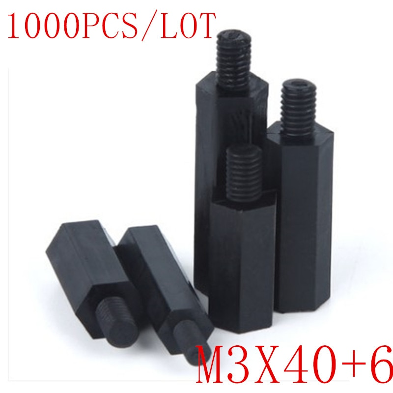 1000 قطعة النايلون مأزق الذكور إلى الإناث M3 * 40 + 6 الأسود عرافة النايلون مأزق فاصل العمود النايلون البلاستيك تباعد