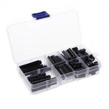 Adaptateur de douilles à souder   66 pièces/ensemble douilles DIP IC Kit de douilles de Type à souder 6 8 14 16 18 20 24 28 broches livraison directe