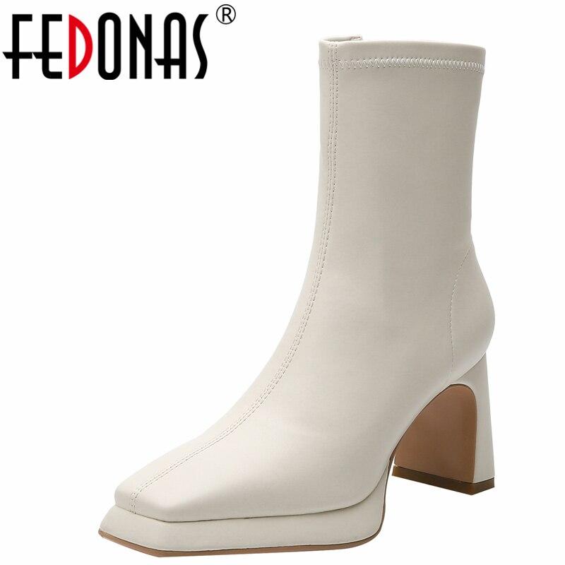 FEDONAS منصات جديدة تمتد الأحذية الخريف الشتاء النساء حذاء من الجلد ساحة تو عالية الكعب أحذية أنيقة موجزة غير رسمية امرأة