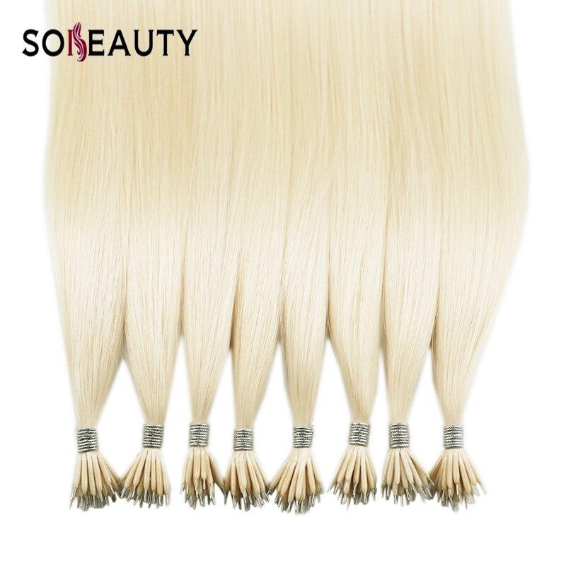 Extensiones de cabello liso Sobeauty Micro extensiones de pelo de cuentas extensiones de cabello de tamaño nano 20 Remy humano fusión de extensiones de cabello