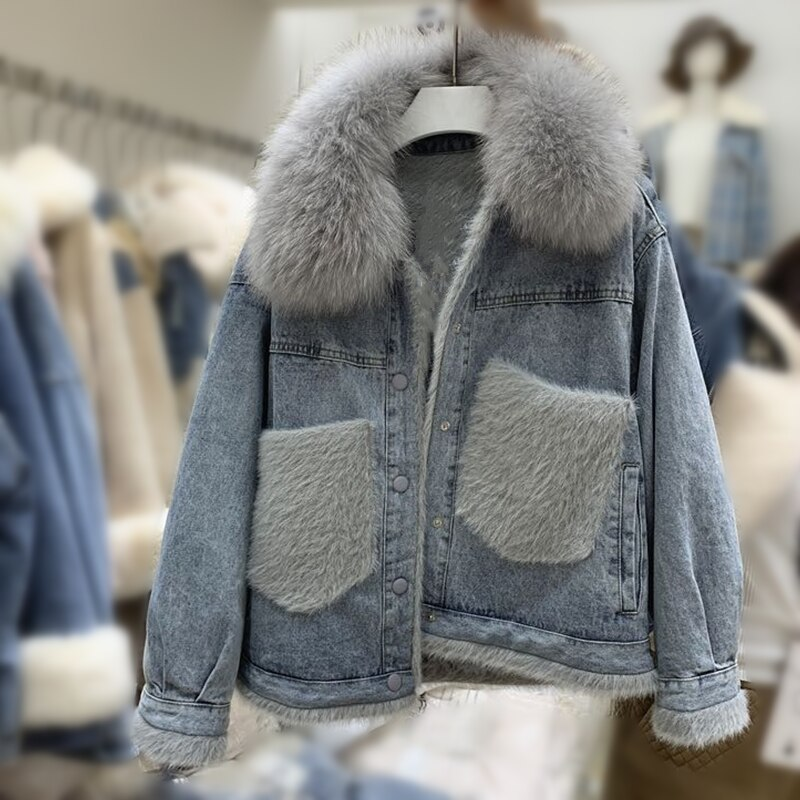 Winter Jacket Women 2020 Korean Loose Fur Collar Denim Oversize Short Female Jacket Elegant Thick Warm Faux Fur Lining Parkas