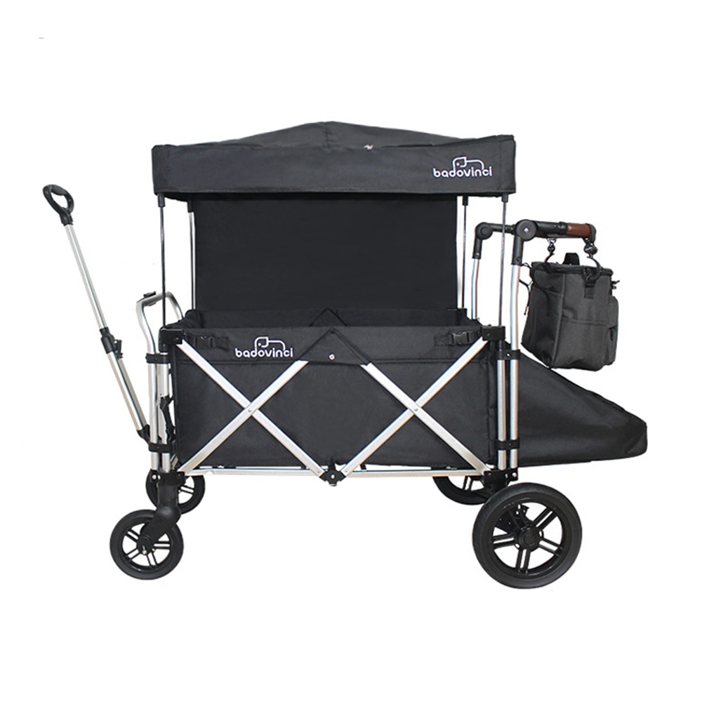Beach Wagon Cart Folding with Big Rubber Wheels Kids Stroller Adjustable Handles and Brake Outdoor Camping Garden Grocery