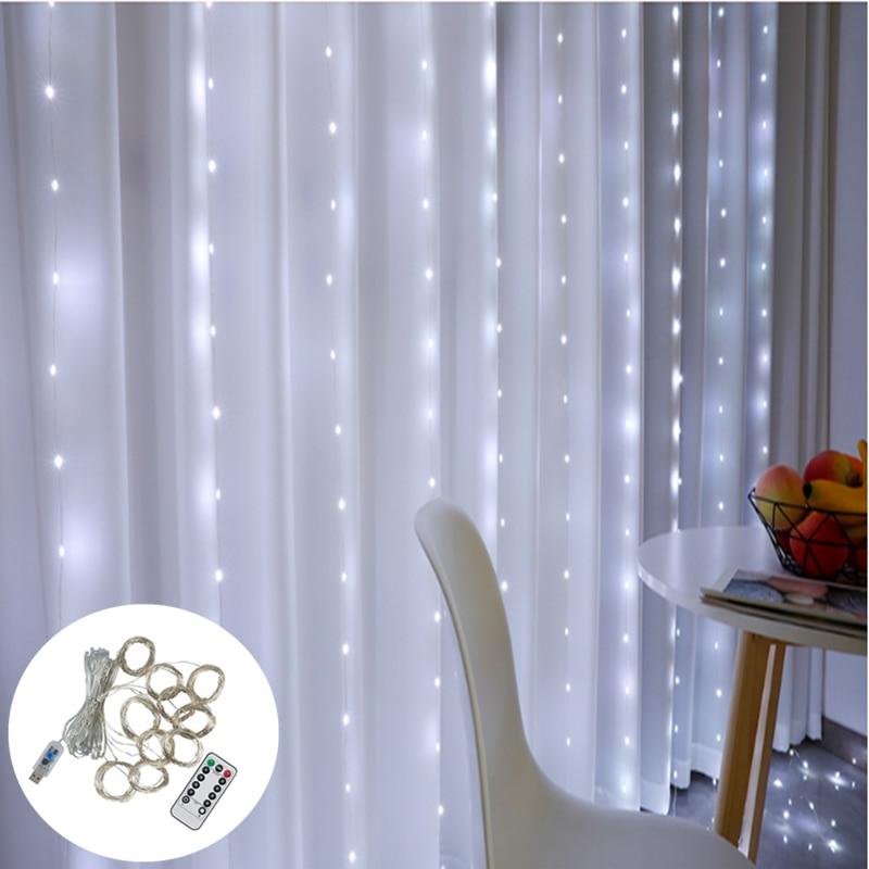 3m X 3m ghirlandă de perdea cu LED-uri pe fereastră USB lumini de - Luminări festive - Fotografie 3