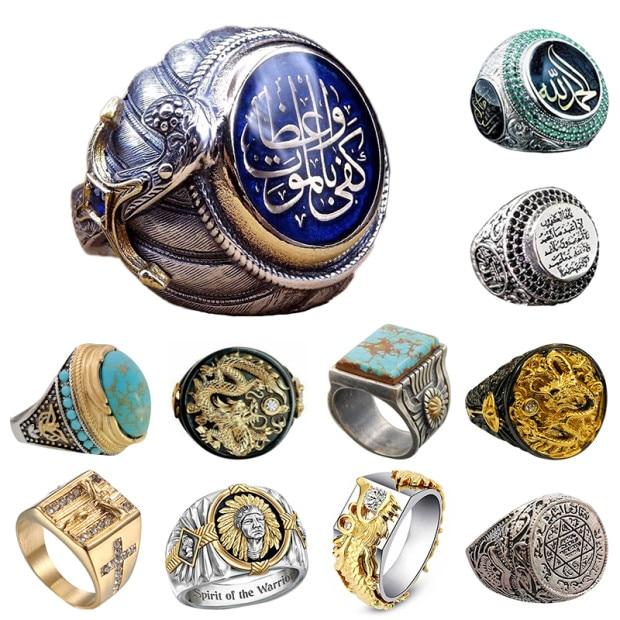 Vintage Turkish Islam Blue Crystal Islamic Ring Men Punk Rock Hip Hop Saudi Muslim Ottoman Carved Pattern Rings Jewelry Men Gift