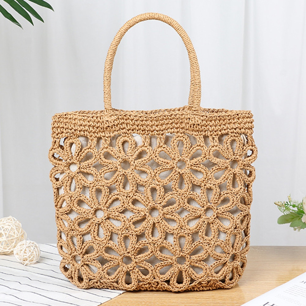 dusun summer bucket bag hand woven hollow out mesh shoulder handbag shopping bag vintage knitting large capacity women beach bag Casual Hollow Straw Women Handbag Bohemian Wicker Woven Shoulder Bag Summer Beach Rattan Bag Large Capacity Tote Bali Purse 2021