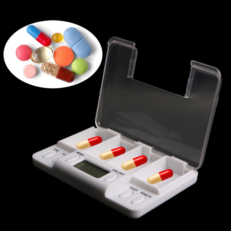 Pills Reminder Medicine Alarm Timer Electronic Box Case Organizer 4 Grids 68UD