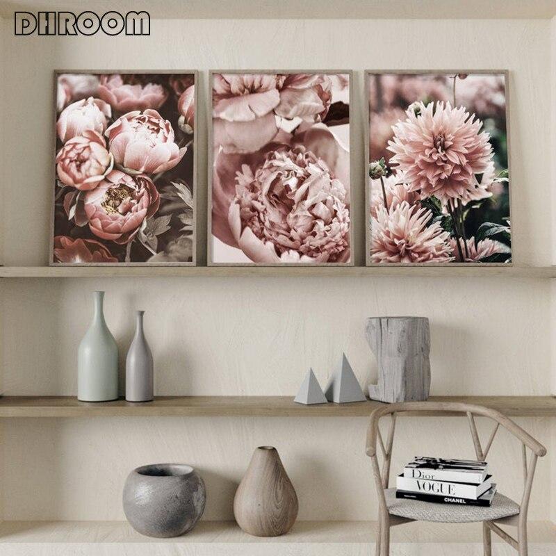Peonía flor lienzo pintura cartel nórdico Rosa oro Floral estilo escandinavo impresión pared arte decoración imagen para sala de estar