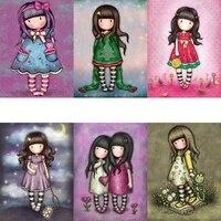 Fsbgt     Kits de peinture a lhuile acrylique par numeros  images de filles mignonnes  dessin anime peint a la main sur toile  cadeau dart  decoration de maison