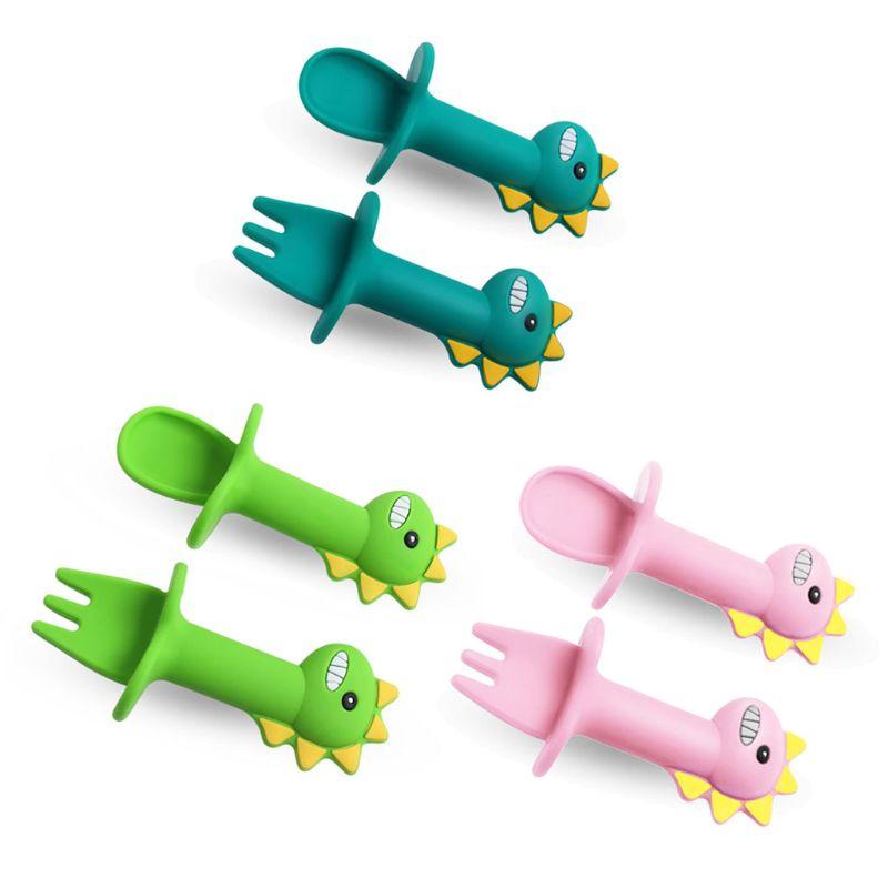 2 unids/lote bebé tenedor cuchara de silicona de alimentación del bebé juego de vajilla de grado de alimentos recién nacido accesorios mordedor