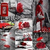 5D BRICOLAGE Diamant Peinture Plein Carre Rouge Et Noir Serie Maison Decoration Broderie Artisanat Kits Dart