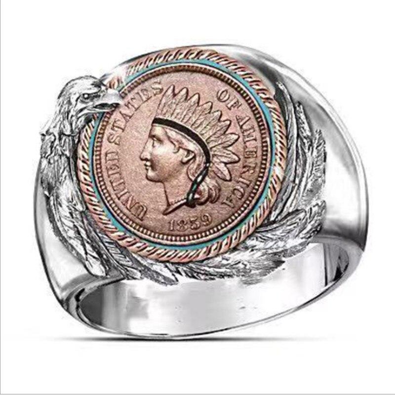 Мужское новое модное ретро кольцо в форме индийского орла, двухцветное мужское кольцо, для вечеринок, для выступлений, ювелирные изделия