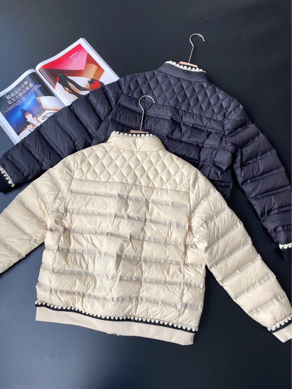 90 White Duck Down Black White Winter Clothes Heavy Industry Short Cropped Women Jacket Wool Lace Zipper Thin Fall Winter Coat