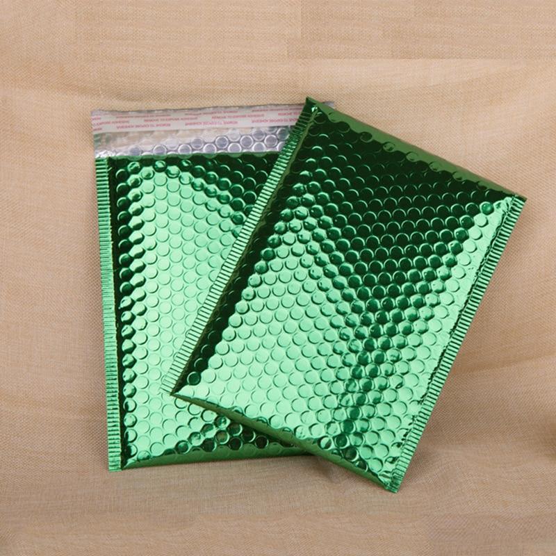 50Pcs 18x23cm Bubble Bag Green Aluminum Foil Bubble Mailer Postal Shipping Mailing Bag Business Shockproof Courier Packaging Bag