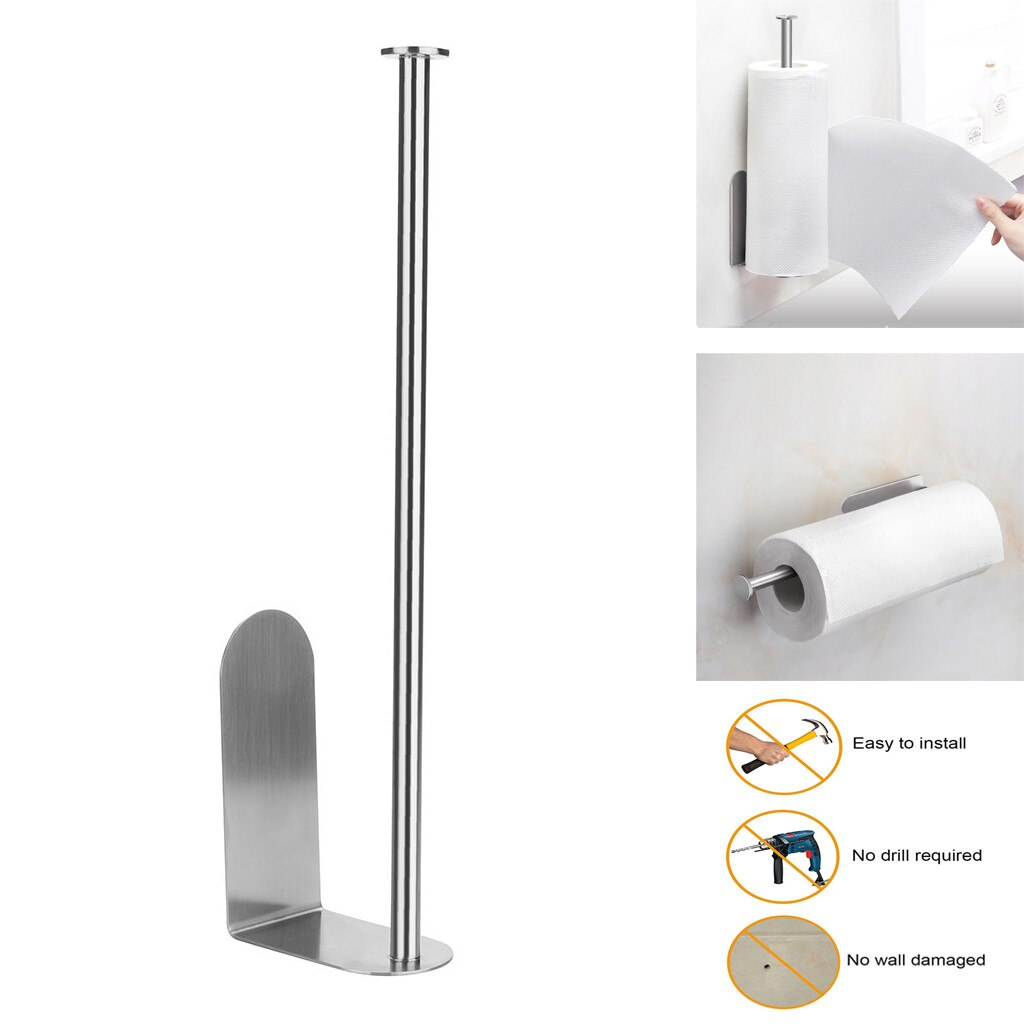 Kitchen Roll Paper Accessory Wall Mount Toilet Paper Holder Stainless Steel Bathroom tissue towel accessories rack holders#W kitchen toilet paper holder adhesive wall mount stainless steel hanging organizer bathroom tissue towel accessories rack holders