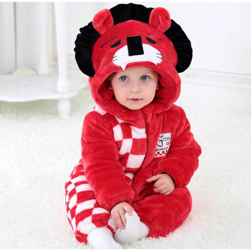 Kigurumis bebé disfraz niña niño Onesie Kawaii Red Lion Niño de manga larga mameluco mantener caliente ropa niño chico 0-3 años Niño