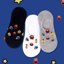 ถุงเท้าตลกถุงเท้าสุภาพสตรีเกาหลี Sesame Street การ์ตูนถุงเท้าตลกฝ้ายชายไม่มีฤดูใบไม้ผลิใหม่ Cool ถุ...